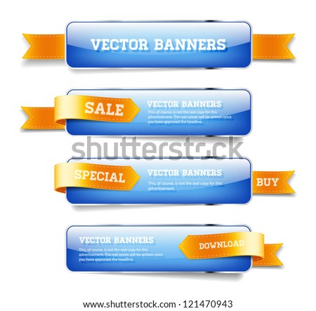 A set of blue vector glossy horizontal banners with golden satin ribbons #121470943