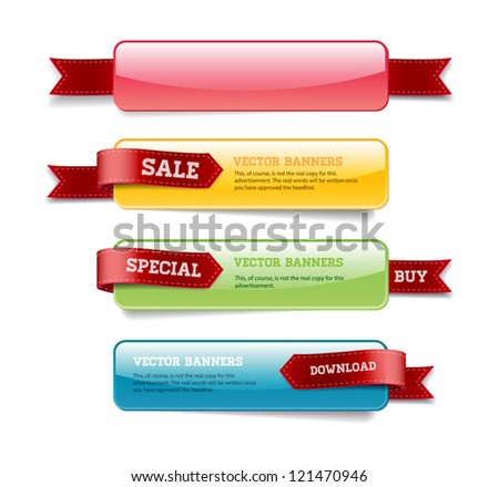 A set of vector glossy horizontal banners with red satin ribbons #121470946