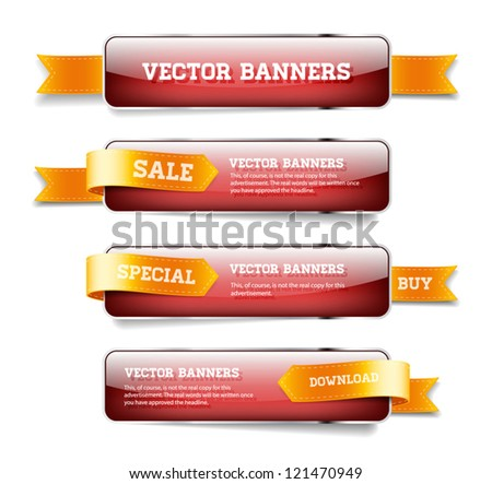 A set of red vector glossy horizontal banners with golden satin ribbons #121470949