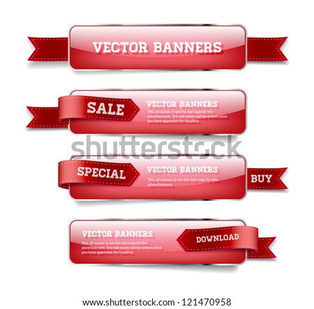 A set of red vector glossy horizontal banners with red satin ribbons #121470958