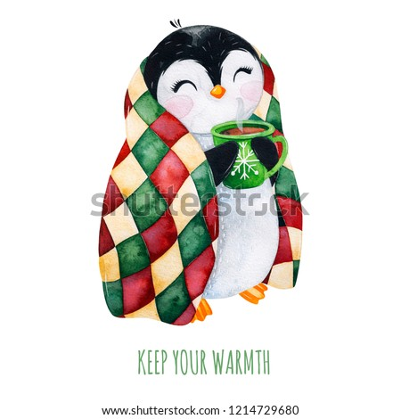 Cute watercolor penguin with a cup of hot drink in winter knitted plaid.Hand painted holiday illustration.Perfect for your Christmas and New Year project,invitations,greeting cards,wallpapers,blog etc