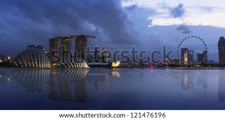 An evening shot of Singapore lighted cityscape. #121476196