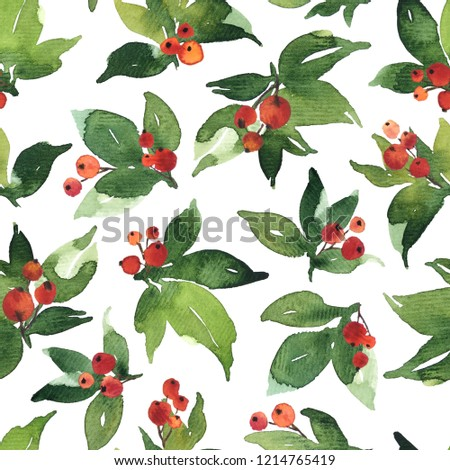 Christmas Watercolor seamless pattern with red holly berries and green leaves #1214765419