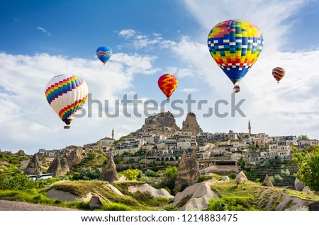 The great tourist attraction of Cappadocia - balloon flight. Cappadocia is known around the world as one of the best places to fly with hot air balloons. Goreme, Cappadocia, Turkey #1214883475