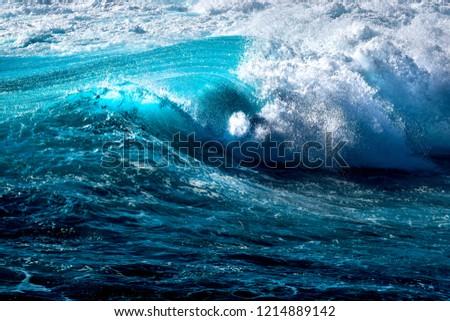 breaking wave in the ocean in indonesia #1214889142