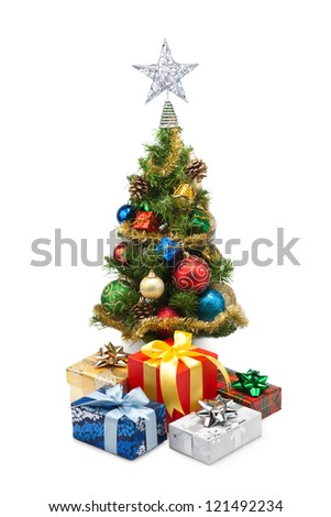 Christmas tree and gift boxes on a white background #121492234