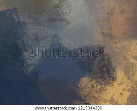 2d illustration. Artistic background image. Abstract painting on canvas. Contemporary art. Hand made art. Colorful texture. Modern artwork. Brushstrokes. Strokes of fat paint on surface. #1215014350