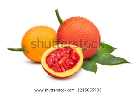 Gac fruit with cut in half and green leaf isolated on white background. (Baby Jackfruit, Cochinchin Gourd, spiny bitter Gourd, Sweet Gourd) #1215055933
