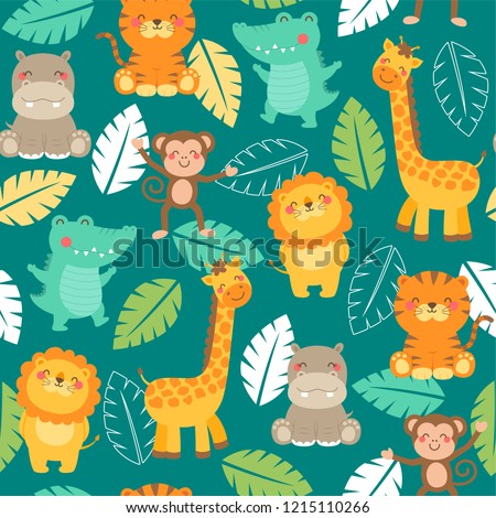 Cute jungle animals with palm leaf seamless pattern background