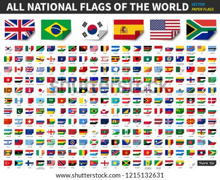 All national flags of the world . Paper design with bend at corner . Elements Vector . #1215132631