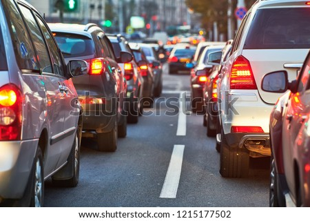 traffic jam or collapse in a city street road #1215177502