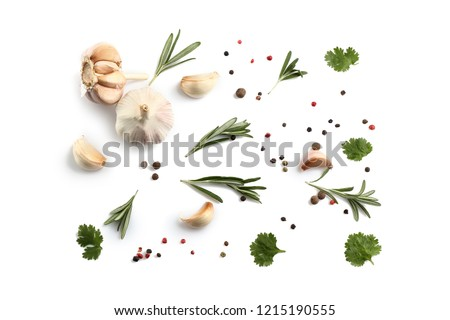 Flat lay composition with spices and herbs on white background #1215190555