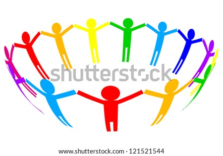 Colorful icon - people in circle