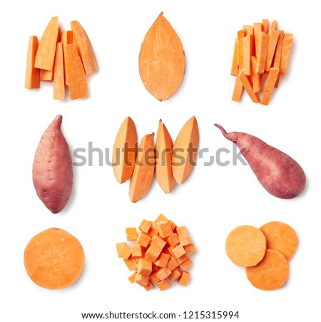 Set of fresh whole and sliced sweet potatoes isolated on white background. Top view Royalty-Free Stock Photo #1215315994