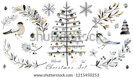 Winter leafs collection. Decorative hand painted watercolor illustrations for Christmas season.