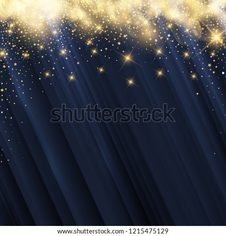 Christmas background with glowing gold stars #1215475129