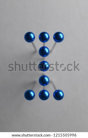 Letter I composed of blue spherical head pins. 3D rendering #1215505996