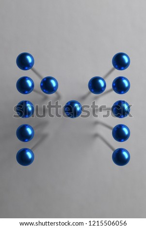 Letter M composed of blue spherical head pins. 3D rendering #1215506056