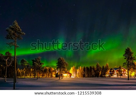 Aurora borealis (also known like northern or polar lights) beyond the Arctic Circle in winter Lapland. #1215539308