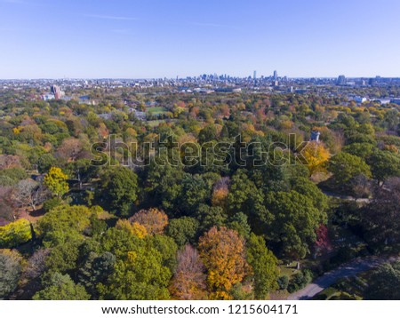 Mount Auburn Cemetery and Boston skyline in fall, Watertown, Greater Boston Area, Massachusetts, USA.