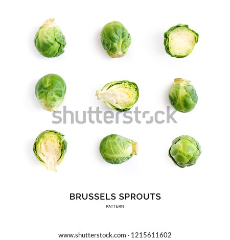 Seamless pattern with brussels cabbage. Abstract background. Brussels cabbage on the white background. #1215611602