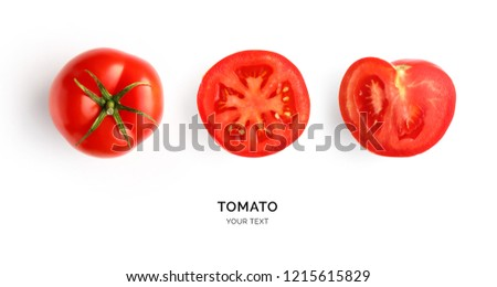 Creative layout made of tomato on the white background. Flat lay. Food concept. Tomato on the white background. #1215615829