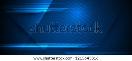 Vector Abstract, science, futuristic, energy technology concept. Digital image of light rays, stripes lines with blue light, speed and motion blur over dark blue background Royalty-Free Stock Photo #1215643816