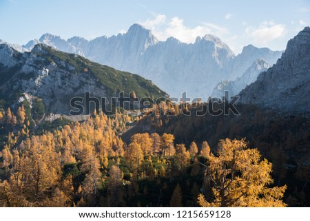 Autumn at Slemenova Spica in the Julian Alps mountains #1215659128