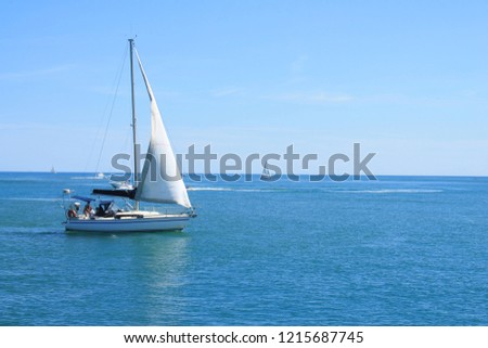 Sail boat in mediterranean sea, France  #1215687745