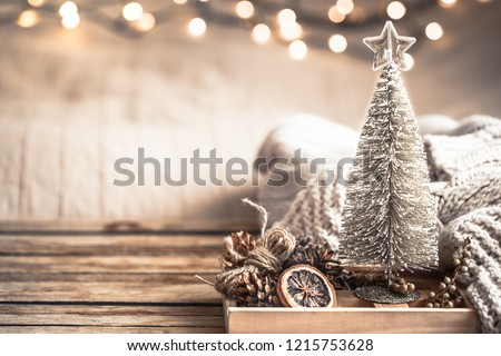 Christmas festive decor still life on wooden background, concept of home comfort and holiday #1215753628