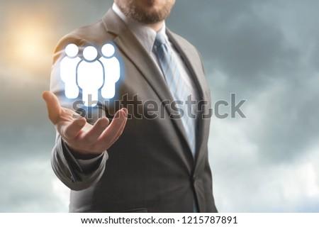 Business man holding opinion leader, team leader, market leader, Leading concepts. #1215787891