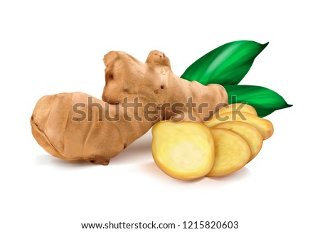 ginger roots on white background Royalty-Free Stock Photo #1215820603