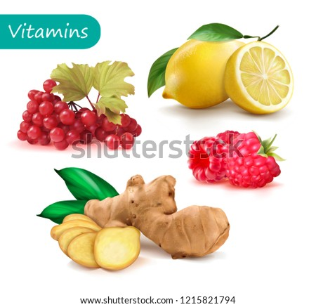 Set of vitamins to strengthen the immunity viburnum, lemon, ginger, raspberry. Vector illustration. Royalty-Free Stock Photo #1215821794