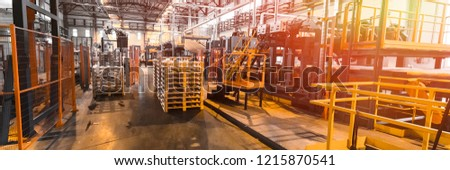 Fiberglass production industry equipment at manufacture background #1215870541
