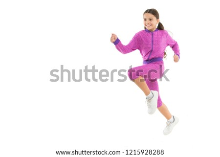Girl cute kid with long ponytails sportive costume jump isolated on white. Working out with long hair. Sport for girls. Guidance on working out with long hair. Deal with long hair while exercising. #1215928288