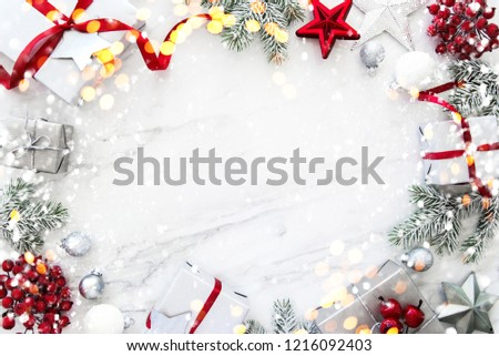 Christmas background with xmas gifts on marble background. Merry Сhristmas greeting card. Winter season holidays. Happy New Year. #1216092403