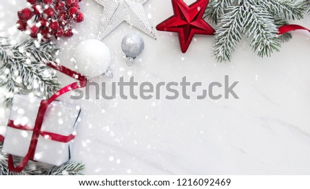 Christmas background with xmas gifts on marble background. Merry Сhristmas greeting card. Winter season holidays. Happy New Year. #1216092469