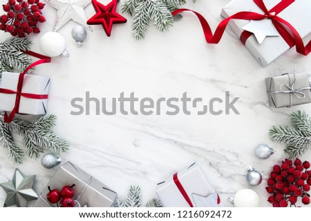 Christmas background with xmas gifts on marble background. Merry Сhristmas greeting card. Winter season holidays. Happy New Year. #1216092472