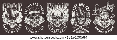 Vintage monochrome gambling prints set with gangster skulls wearing crown top and fedora hats roses smoking pipes playing cards smoke isolated vector illustration