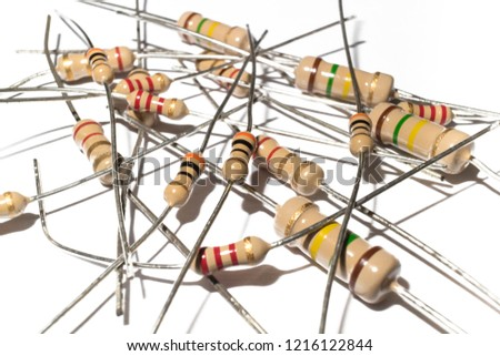 many electronic resistor on white background, Resistors in electronic lab.Clipping Path #1216122844