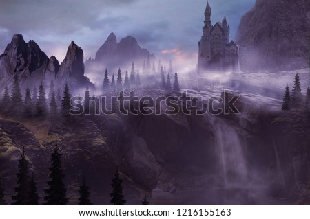 castle above the waterfall and fantasy mountain landscape