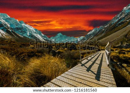 Pedestrian walkway with sunset background #1216181560