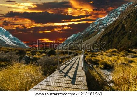 Pedestrian walkway with sunset background #1216181569