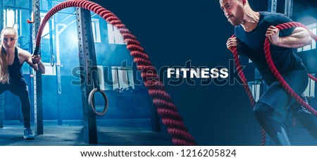 Collage about man and woman with battle rope during exercise in the fitness gym. The sport, rope, training, athlete, workout, exercises concept #1216205824