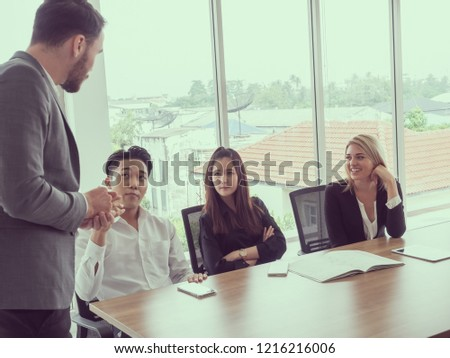 business people in meeting room,Businessman explaining new business ideas #1216216006