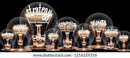 Photo of light bulbs group with shining fibers in a shape of STRATEGY concept related words isolated on black background #1216229356