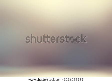 3d ombre muted background. Beige grey gleam blurred pattern. Defocus wall and floor texture. Room abstract interior.  #1216233181