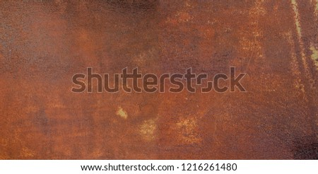 Panorama of rusty metal wall, old sheet of iron covered with rust and corrosion paint. Oxidized iron panel. Texture or background. #1216261480