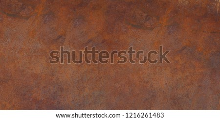 Panorama of rusty metal wall, old sheet of iron covered with rust and corrosion paint. Oxidized iron panel. Texture or background. #1216261483