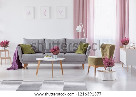 Grey settee with green cushions and purple blanket in real photo of white living room interior with coffee table with fruits and heather, posters on wall and window with white and dirty pink curtains #1216391377